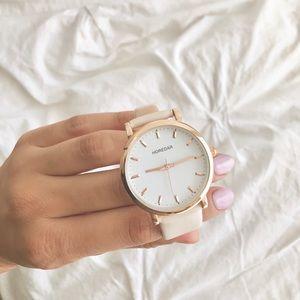 HOREDAR Nude/Light Pink Leather Strap Watch